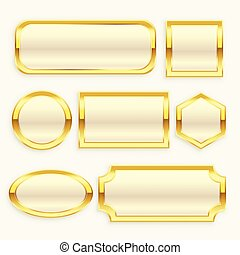 glossy golden vintage frame or labels collection