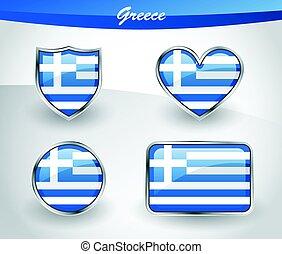 Glossy Greece flag icon set