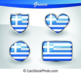 Glossy Greece flag icon set