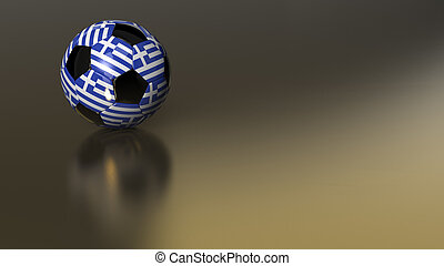 Glossy Greece soccer ball on golden metal surface
