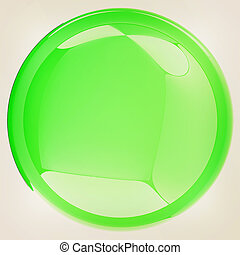 Glossy green button. 3D illustration. Vintage style.