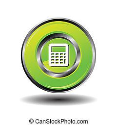 Glossy green Calculator button isol