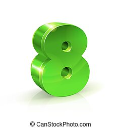Glossy green Eight 8 number. 3d Illustration on white background.