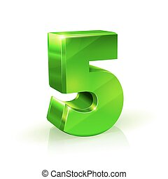 Glossy green Five 5 number. 3d Illustration on white background.