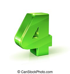 Glossy green Four 4 number. 3d Illustration on white background.