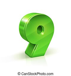 Glossy green Nine 9 number. 3d Illustration on white background.