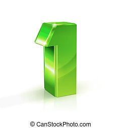 Glossy green One 1 number. 3d Illustration on white background.
