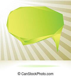 Glossy green origami speech bubble.  + EPS8
