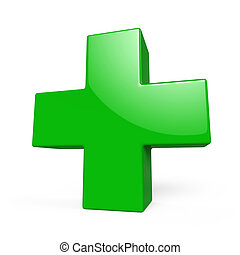 Glossy green plus sign 3D render isolated on white background.