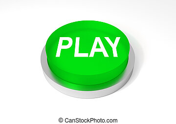 glossy green round button play