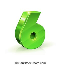 Glossy green Six 6 number. 3d Illustration on white background.