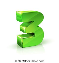 Glossy green Three 3 number. 3d Illustration on white background.
