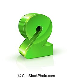 Glossy green Two 2 number. 3d Illustration on white background.