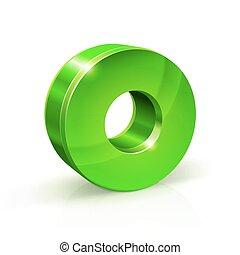 Glossy green Zero 0 number. 3d Illustration on white background.