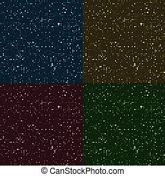 Glossy halftone rounds. Stylized stars in the night sky. Background seamless texture. Vector illustration.