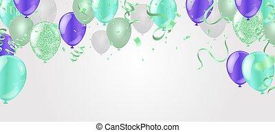 Glossy Happy Birthday Balloons Background Vector Illustration eps10