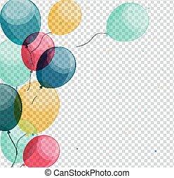 Glossy Happy Birthday Balloons On Transparent Background Vector Illustration