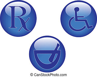 glossy healthcare buttons