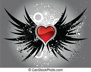 glossy heart on grunge wings - Glossy red heart on grunge...