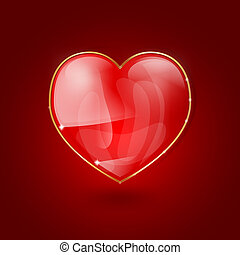 glossy heart on red background