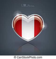 Peru - Glossy heart shape flags of the Worlds: Republic of...