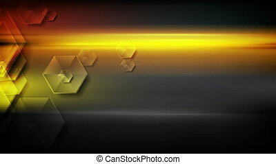 Glossy hexagons and glowing stripes video animation - Glossy...