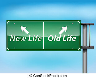 Glossy highway sign with New Life and Old life text on a...