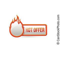 Glossy hot offer button with icon