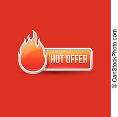 Glossy hot offer icon and button