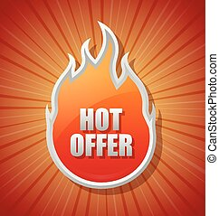 Glossy hot offer icon
