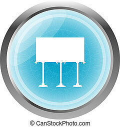glossy icon button with billboard isolated on white
