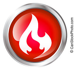 Glossy icon or button with flame