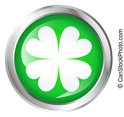 button with four leaf clover