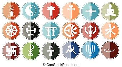 Glossy Icon Set of Religious Symbol