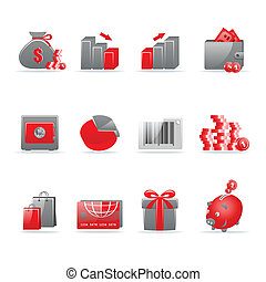 Glossy icon set - Set of 12 glossy web icons. Shopping,...