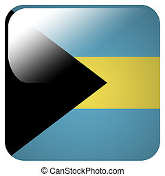 Glossy icon with flag of Bahamas