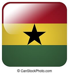 Glossy icon with flag of Ghana