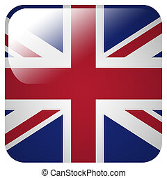 Glossy icon with flag of Great Britain
