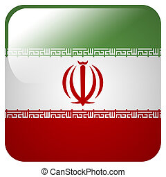 Glossy icon with flag of Iran