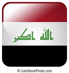 Glossy icon with flag of Iraq