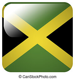 Glossy icon with flag of Jamaica