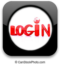 "Glossy icon with text ""login"""