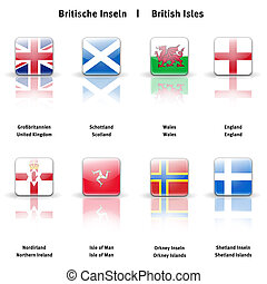 High resolution glossy icons of the British Isles