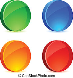 Glossy Icons. - Glossy 3d icons. Vector illustration.