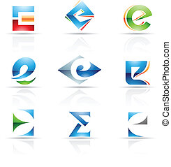 Glossy Icons for letter E - Vector illustration of abstract ...