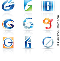 Glossy Icons for letter G - Vector illustration of abstract...