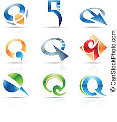 Glossy Icons for letter Q - Vector illustration of abstract ...