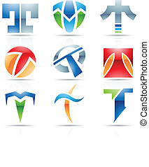 Glossy Icons for letter T - Vector illustration of abstract...