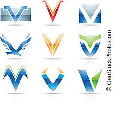 Glossy Icons for letter V - Vector illustration of abstract...