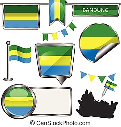Vector glossy icons of flag of Bandung city, Indonesia on white